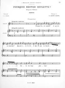 Pourquoi rester seulette? (Bergerie Watt... by Saint-Saëns, Camille