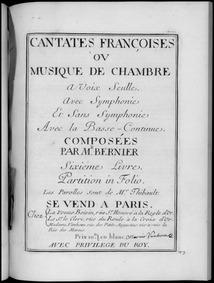 Cantates (Cantates françaises ou musique... by Bernier, Nicolas