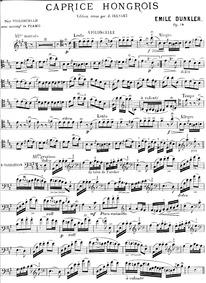 Caprice hongrois, Op.18 : Cello Part Volume Op.18 by Dunkler, Emile