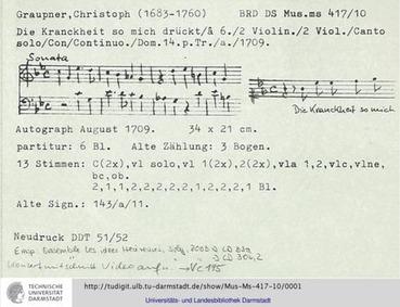 Die Krankheit so mich drückt, GWV 1155/0... Volume GWV 1155/09b by Graupner, Christoph