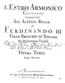 Concerto for 2 Violins in A minor, RV 52... Volume RV 522; Op.3/8 by Vivaldi, antonio