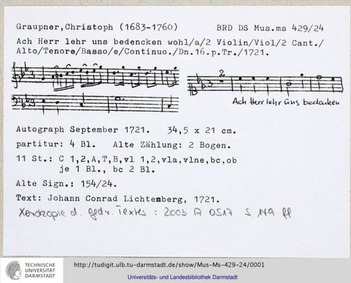 Ach Herr lehr uns bedenken wohl, GWV 115... Volume GWV 1157/21 by Graupner, Christoph