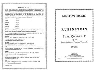 String Quintet, Op.59 : Complete Score Volume Op.59 by Rubinstein, Anton