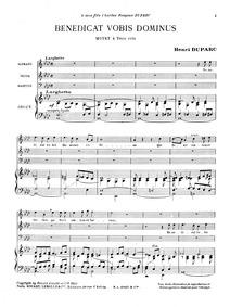 Benedicat vobis Dominus, : Complete Scor... by Duparc, Henri