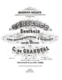 Concerto pour Hautbois (Oboe Concerto) :... Volume Op.7 by Grandval, Marie