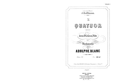 String Quartet No.3, Op.38 : Complete Pa... Volume Op.38 by Blanc, Adolphe
