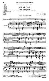 Csárdás (Czardas) : Piano Conductor by Monti, Vittorio