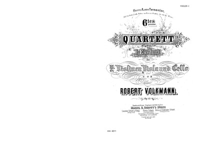 String Quartet No.6, Op.43 : Complete Pa... Volume Op.43 by Volkmann, Robert