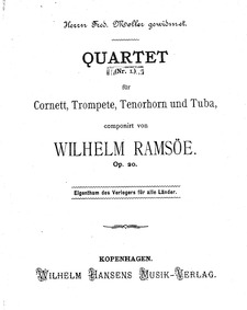 Brass Quartet No.1, Op.20 : Complete Sco... Volume Op.20 by Ramsöe, Wilhelm