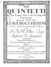 6 String Quintets, G.265-270 (Op.10) : C... Volume G.265-270, Op.10 in Boccherini's autograph catalogue, published as Op.12 by Boccherini, Luigi