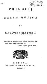 Principi della musica (Principles of Mus... by Bertezen, Salvatore