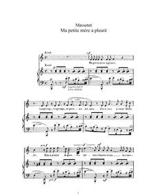 Ma petite mère a pleuré : Complete Score... by Massenet, Jules