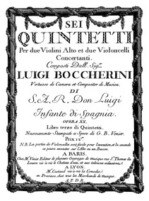 6 String Quintets, G.277-282 (Op.13) (6 ... Volume G. 277-282, Op.13 in Boccherini's autograph catalogue, published as Op.20 by Boccherini, Luigi