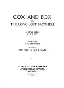Cox and Box (The Long Lost Brothers) : C... by Sullivan, Arthur