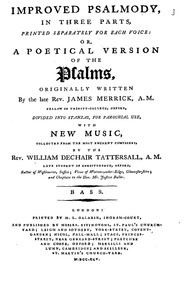 Improved Psalmody : Bass - Psalms I-XLI by Tattersall, William de Chair