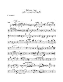 Cello Concerto, Op.85 : Clarinet 1, 2 (i... Volume Op.85 by Elgar, Edward