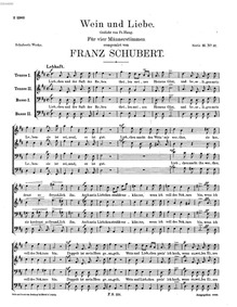 Wein und Liebe, D.901 : Complete Score by Schubert, Franz
