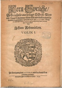 Kern-Sprüche : Complete Parts by Rosenmüller, Johann