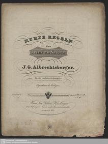 Kurze Regeln des reinsten Satzes : Compl... by Albrechtsberger, Johann Georg