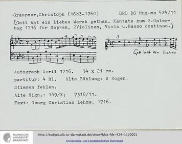 Gott hat ein liebes Werk getan, GWV 1129... Volume GWV 1129/16 by Graupner, Christoph