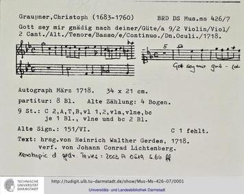 Gott sei mir gnädig nach deiner Güte, GW... Volume GWV 1122/18 by Graupner, Christoph