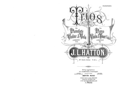 Piano Trio No.1 : Complete Score and Par... by Hatton, John Liptrot