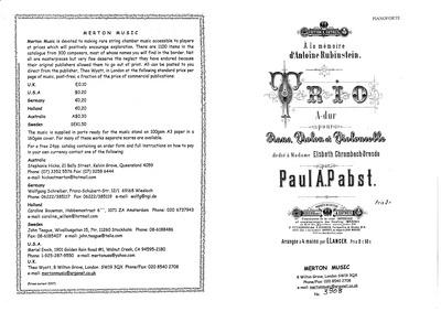 A la Mémoire d'Antoine Rubinstein (Piano... by Pabst, Paul