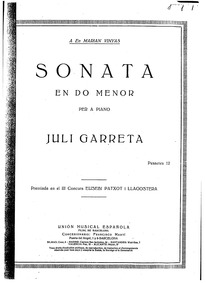Piano Sonata in C minor : Complete Score by Garreta, Juli