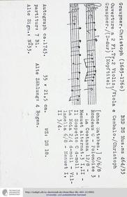 Ouverture in D major, GWV 418 : Complete... Volume GWV 418 by Graupner, Christoph