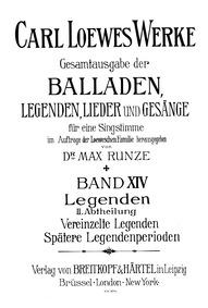 Legenden II : Complete Score (monochrome... by Loewe, Carl