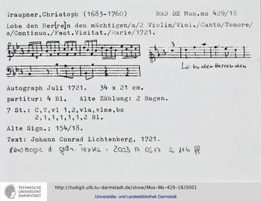 Lobe den Herren den mächtigen, GWV 1171/... Volume GWV 1171/21 by Graupner, Christoph