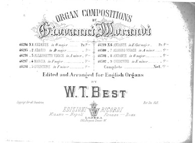 Organ Compositions : Contents by Morandi, Giovanni