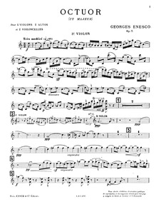 Octet, Op.7 : Violin 3 Volume Op.7 by Enescu, George