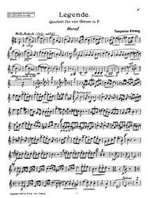 Legende (Quartett für vier Hörner in F) ... by Strong, George Templeton