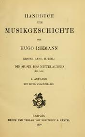 Handbuch der Musikgeschichte : Band 1, T... by Riemann, Hugo