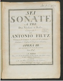 6 Trios, Op.3 : Cello Volume Op.3 by Filtz, Johann Anton
