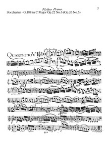 6 String Quartets, G.183-188 (Op.22) : C... Volume Op.22 in Boccherini's autograph catalogue ; published as Op.26 by Boccherini, Luigi