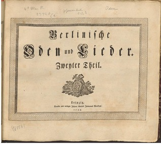 Berlinische Oden und Lieder : Complete S... by Marpurg, Friedrich Wilhelm