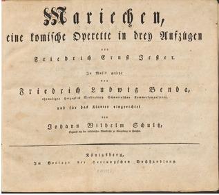 Mariechen : Act 1 by Benda, Friedrich Ludwig