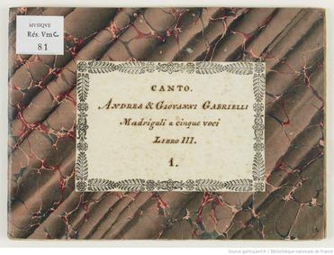 Madrigali a 5 voci, Libro 3 : Canto by Gabrieli, Andrea