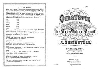 String Quartet No.4, Op.47 No.1 : Comple... Volume Op.47 by Rubinstein, Anton