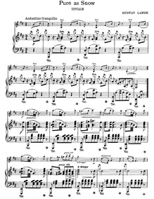 Pure as Snow (Feuilles Nouvelles; Alpine... Volume Op.31 by Lange, Gustav