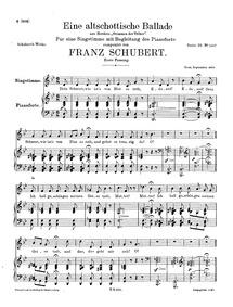 Eine altschottische Ballade D.923 (An Ol... Volume D.923 (Op. posth.165 No.5) by Schubert, Franz