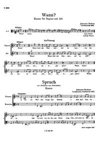 Wann?, WoO 29 : Complete Score (filter) Volume WoO 29 by Brahms, Johannes