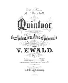 String Quintet, Op.4 : Complete Score Volume Op.4 by Ewald, Victor