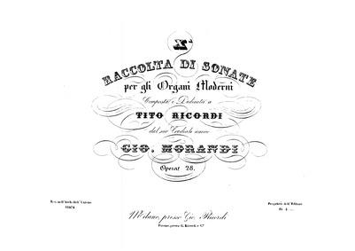 Raccolta di sonate per gli organi modern... Volume Op.28 by Morandi, Giovanni
