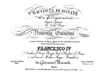 Raccolta di sonate per gli organi modern... Volume Op.21 by Morandi, Giovanni