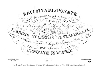 Raccolta di suonate pei grand' organi mo... Volume Op.21 by Morandi, Giovanni
