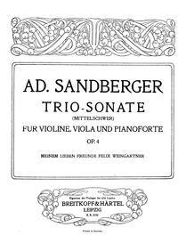Sonata for Violin, Viola and Piano (Trio... Volume Op.4 by Sandberger, Adolf