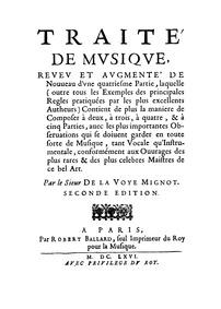 Traité de musique : Complete Book by La Voyer-Mignot, de